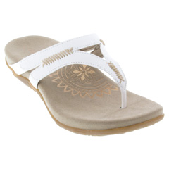 Aetrex Celia Leather White Sandals