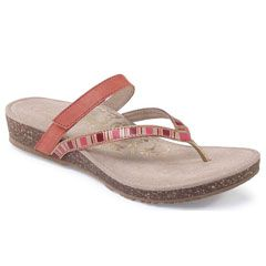 Aetrex Elia Leather Coral Sandals