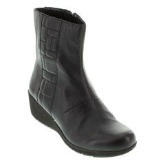 Aetrex Jane Ankle Zip Leather Black Boots