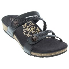 Aetrex Janey Leather Black Sandals