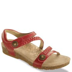 Aetrex Jillian Leather Bright Rose Sandals