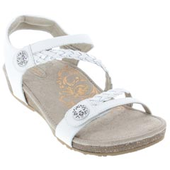 Aetrex Jillian Leather White Sandals