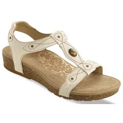 Aetrex Lori Leather Antique White Sandals