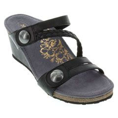 Aetrex Lydia Leather Black Sandals