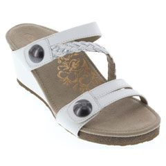 Aetrex Lydia Leather White Sandals