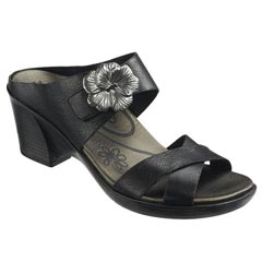 Aetrex Staci Leather Black Sandals