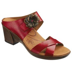 Aetrex Staci Leather Bright Rose Sandals
