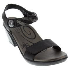 Aetrex Sylvia Leather Black Sandals