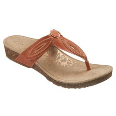 Aetrex Terri Leather Salmon Sandals