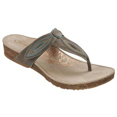 Aetrex Terri Leather Stone Sandals