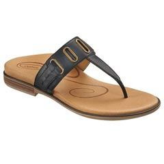 Aetrex Zara Leather Black Sandals
