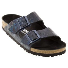 Birkenstock Arizona Leather Spotted Metallic Black Sandals