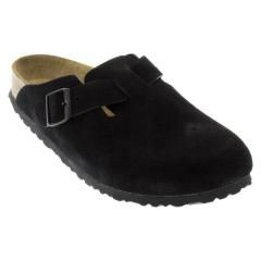 Birkenstock Boston Suede Soft Footbed Black