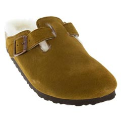 Birkenstock Boston Suede W/ Shearling Mink Clogs