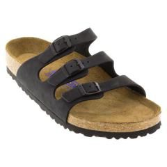 Birkenstock Florida Nubuck Soft Footbed Black Sandals