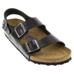 Birkenstock Milano Leather Soft Footbed Black