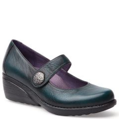 Dansko Adelle Brush-Off Nappa Leather Teal Shoes