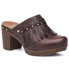 Dansko Deni Full Grain Leather Chocolate Clogs