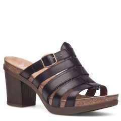 Dansko Dina Full Grain Leather Black Sandals