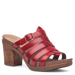 Dansko Dina Full Grain Leather Red Sandals