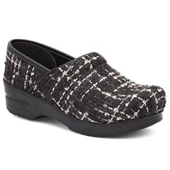 Dansko Fabric Pro Black/White Clogs