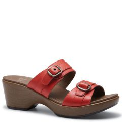 Dansko Jessie Leather Red Sandals