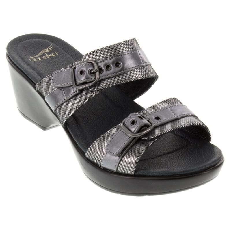 Dansko Jessie Burnished Leather Pewter Sandals