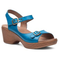 Dansko Joanie Full Grain Leather Capri Blue Sandals
