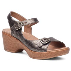 Dansko Joanie Burnished Leather Pewter Sandals