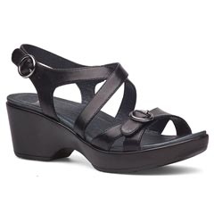 Dansko Julie Full Grain Leather Black Sandals
