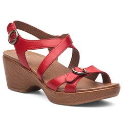 Dansko Julie Full Grain Leather Red Sandals
