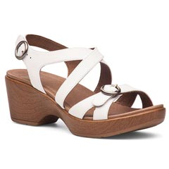 Dansko Julie Leather White Sandals
