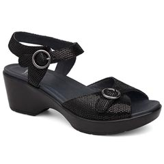Dansko June Leather Black Sandals