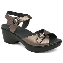 Dansko June Leather Pewter Sandals
