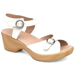 Dansko June Full Grain Leather White Sandals