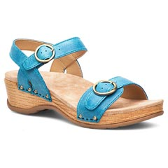 Dansko Mabel Washed Leather Blue Sandals