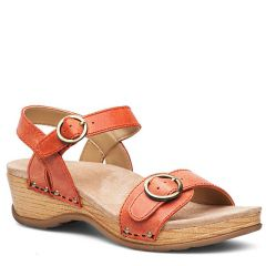 Dansko Mabel Washed Leather Orange Sandals