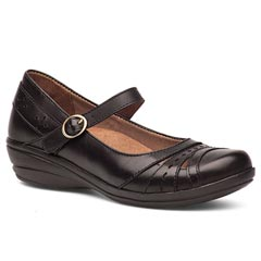 Dansko Mathilda Veg Tan Leather Black Shoes