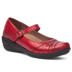 Dansko Mathilda Veg Tan Leather Red Shoes