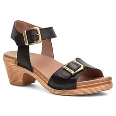 Dansko Matty Full Grain Leather Black Sandals