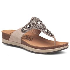 Dansko Pamela Jewelled Suede Taupe Sandals