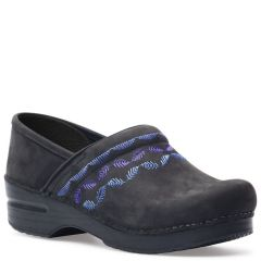 Dansko Embroidered Pro Nubuck Black Clogs