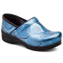 Dansko Professional Patent Leather Blue Shell Clogs