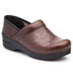 Dansko Professional Leather Brown Floral Clogs