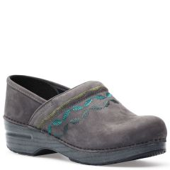 Dansko Embroidered Pro Nubuck Grey Clogs