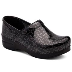 Dansko Professional Patent Leather Grey Quilt Clogs