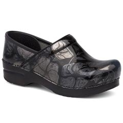 Dansko Professional Leather Pewter Floral Clogs