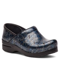 Dansko Professional Tooled Leather Silver/Blue Clogs