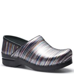 Dansko Pro Xp Patent Leather Grey Striped Clogs