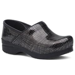 Dansko Wide Pro Patent Leather Silver Black Clogs